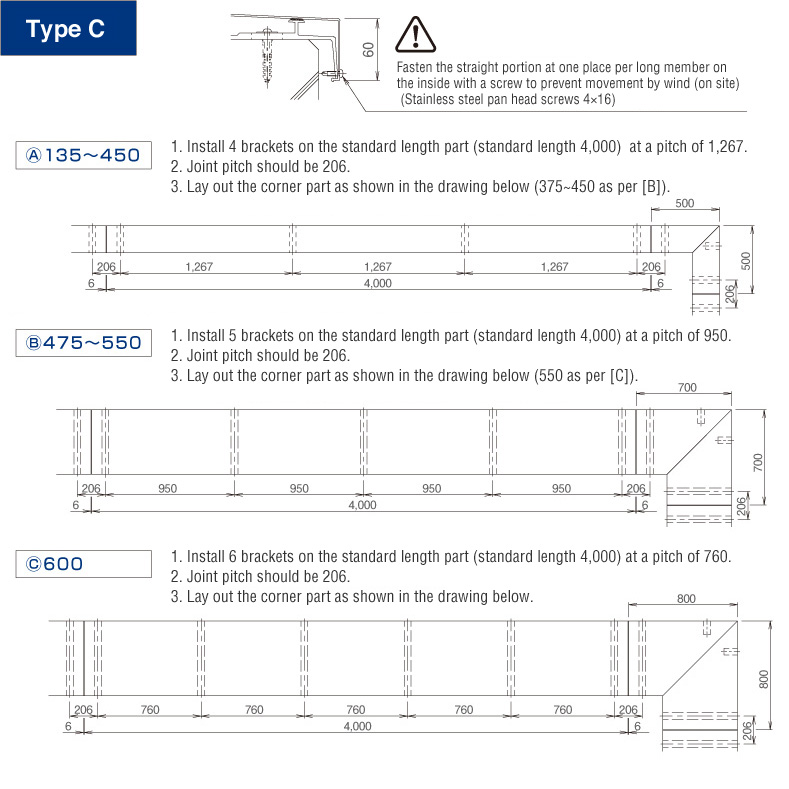 Taisei Installation Drawings Of Guard Coping Type C And